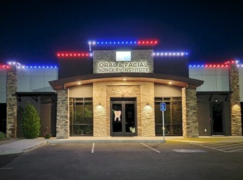 Outside exterior of commercial property lit up with Trimlight Lighting System.