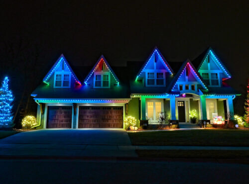 Central Florida Trimlight lighting programmable system installed on a house.