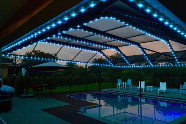 Central Florida Trimlight's Pool Cage Lighting system installed on home owners pool cage.